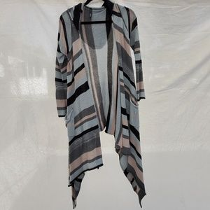 Elan hooded multicolor cardigan high/low OS